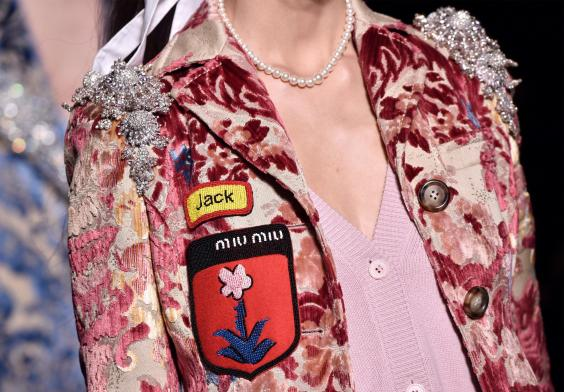 Embroidered badges at Miu Miu autumn/winter 2016 (Getty)