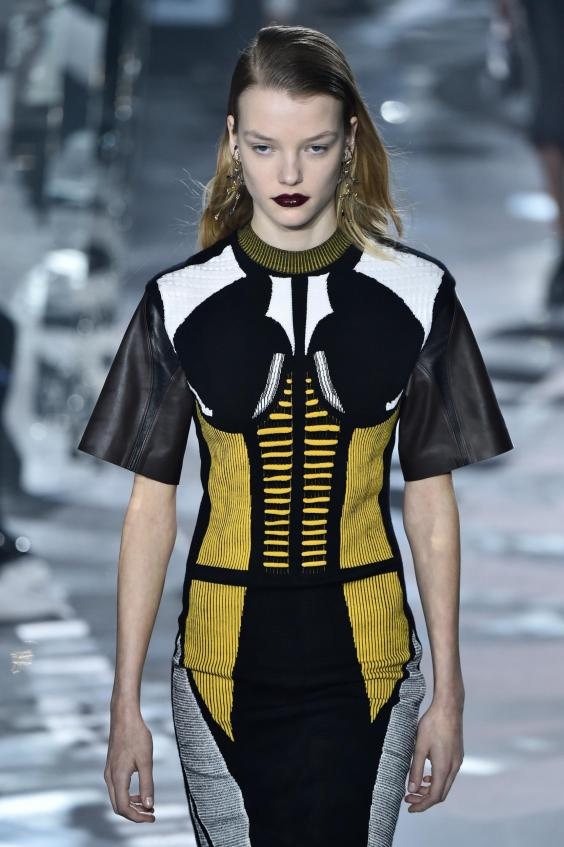 A paneled body-con dress from Nicolas Ghesquiere's autumn/winter 2016 Louis Vuitton show (Getty)