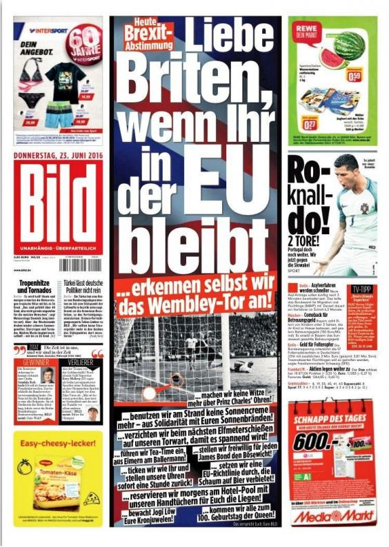 eu referendum german newspaper bild promises to accept. Black Bedroom Furniture Sets. Home Design Ideas