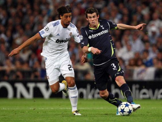 Gareth Bale takes on Sami Khedira in the Champions League quarter-final at the Bernabeu