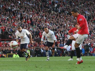 Cristiano Ronaldo scores his first against Spurs from the spot at Old Trafford