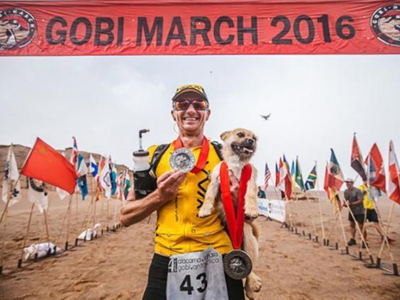 Ultramarathon runner Dion Leonard finally reunited with Gobi the dog after sharing 80-mile China desert trek Gobi-dog-4-deserts-pa2