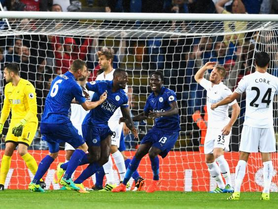 Image result for wes morgan goal v swansea