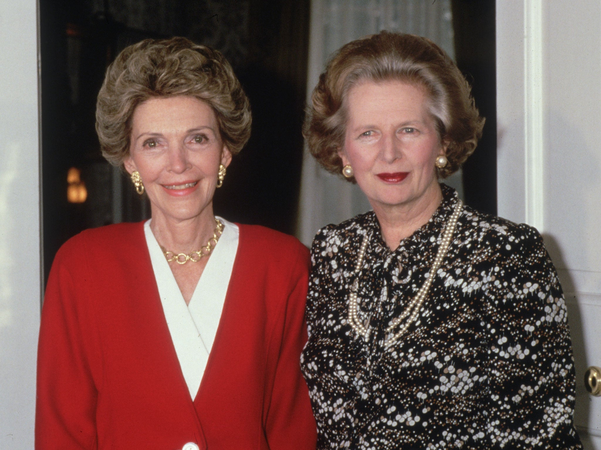 The Margaret Thatcher look from the pearls to the handbag