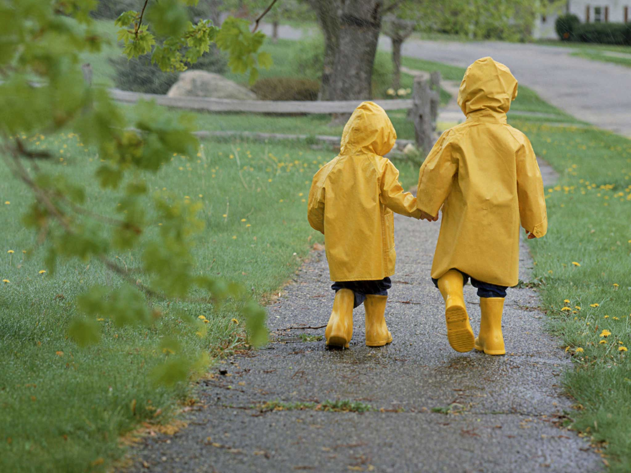 Girls Yellow Fashion Raincoats