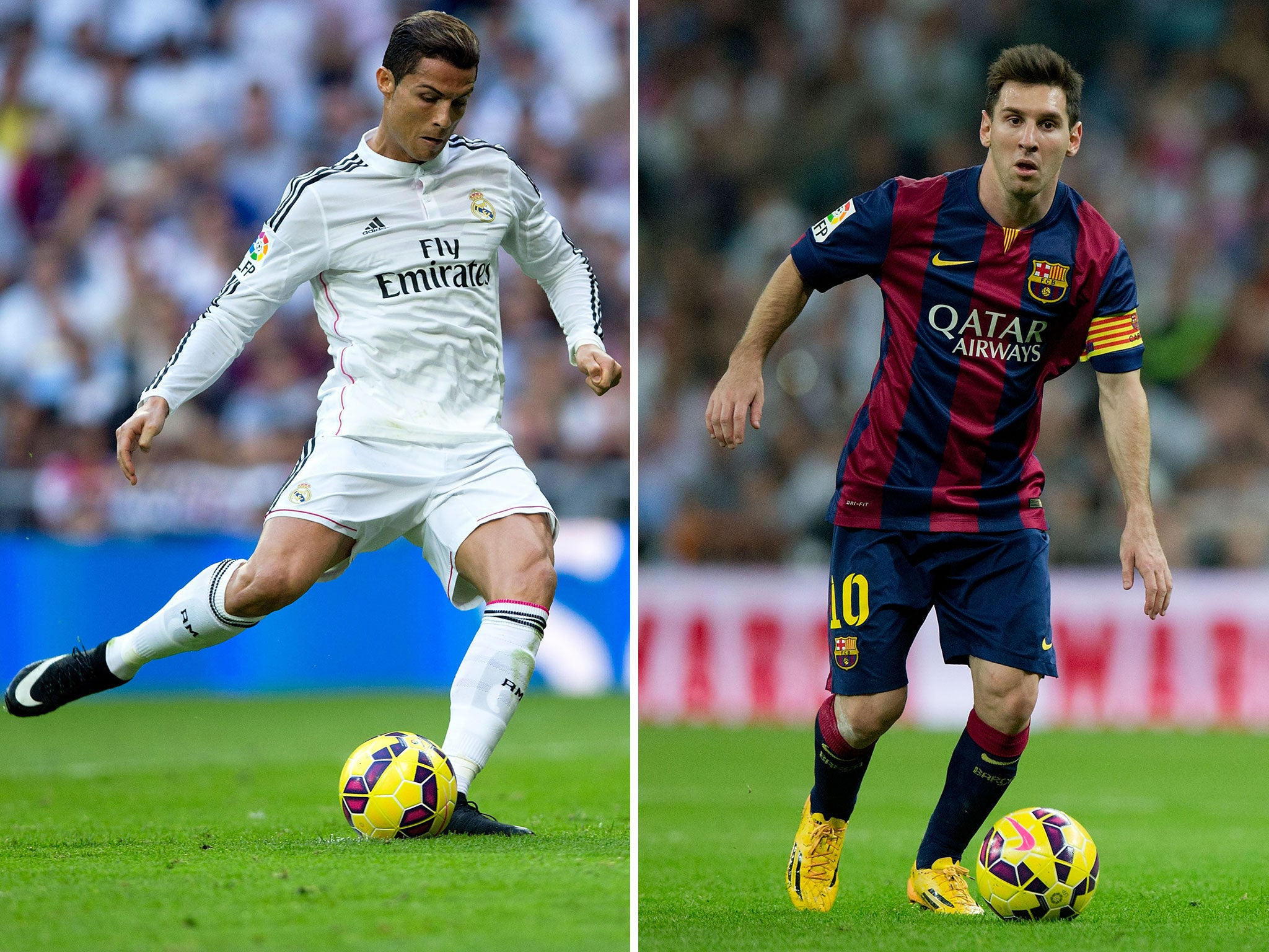 ronaldo v messi Messi and ronaldo are the world's greatest footballers, but who's the best compare goals, assists and honours for cristiano ronaldo & messi.