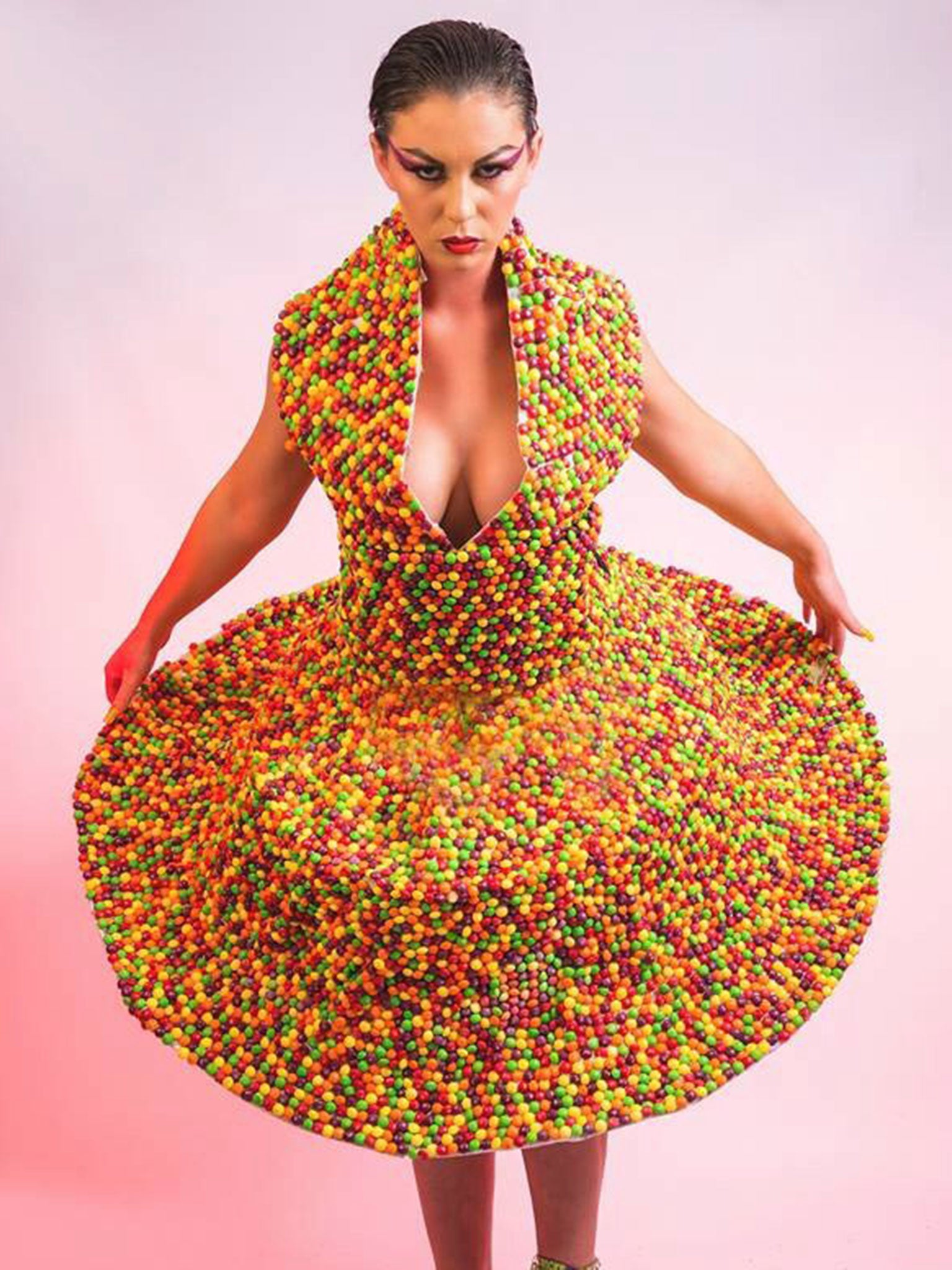 The World S First Skittles Dress Made Of 3 000 Sweets