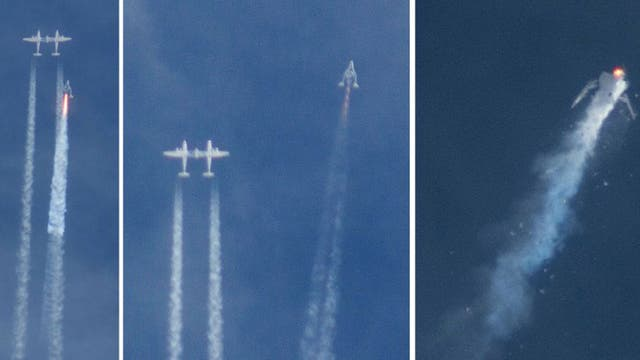 A three-image combination shows the Virgin Galactic SpaceShipTwo rocket separating from the carrier aircraft, la gauche, before it exploded, droite, during a test flight on 31 octobre 2014