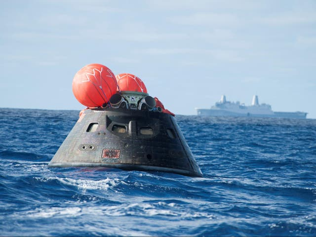 The Orion capsule jetted off into space before heading back a few hours later — having proved that it can be used, one day, to carry humans to Mars