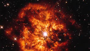 The spectacular cosmic pairing of the star Hen 2-427 — more commonly known as WR 124 — and the nebula M1-67 which surrounds it