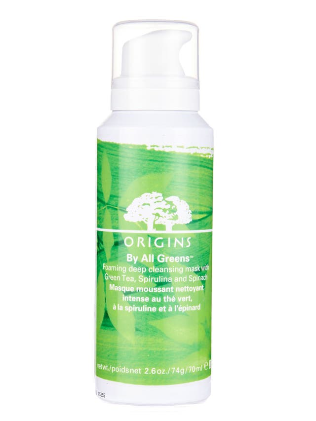 £32, origins.co.uk<br/><br/>Eating greens is great for your skin, but now applying them can be too . This weekly mask combines clarifying clay with spinach, spirulina and green tea extracts.