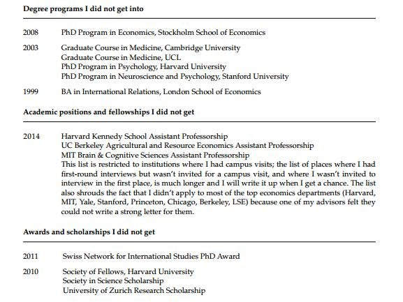 a princeton psychology professor has posted his cv of failures online