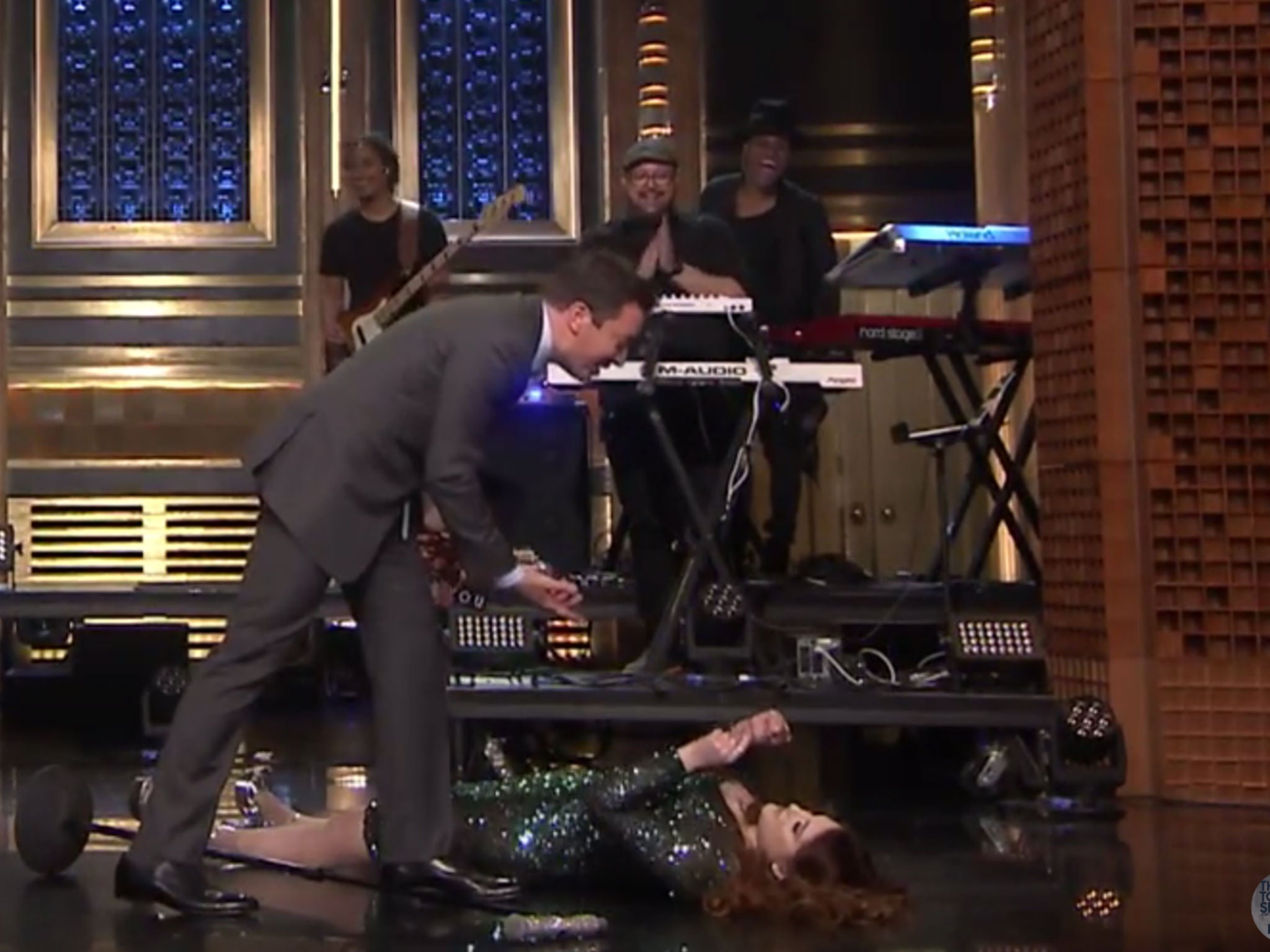 Meghan Trainor falls over in spectacular fashion while performing on the Tonight Show with Jimmy Fallon | People | News | The Independent