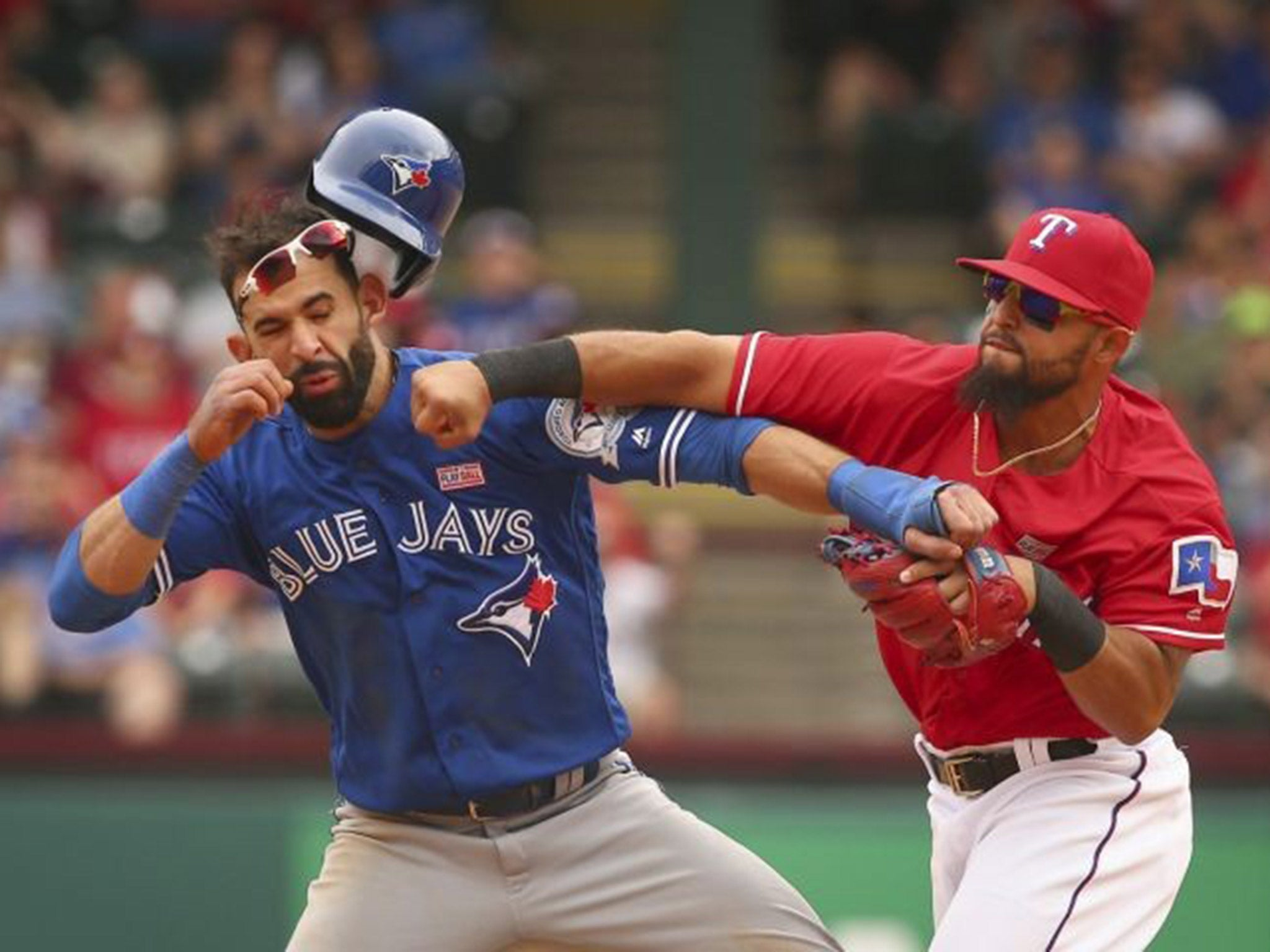 Texas Rangers vs Toronto Blue Jays descends into chaos after Rougned Odor lands huge punch on Jose Bautista | MLB | Sport | The Independent