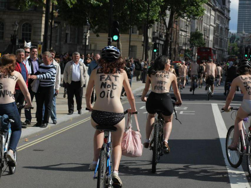 world naked bike ride nude cyclists hit london streets for protest