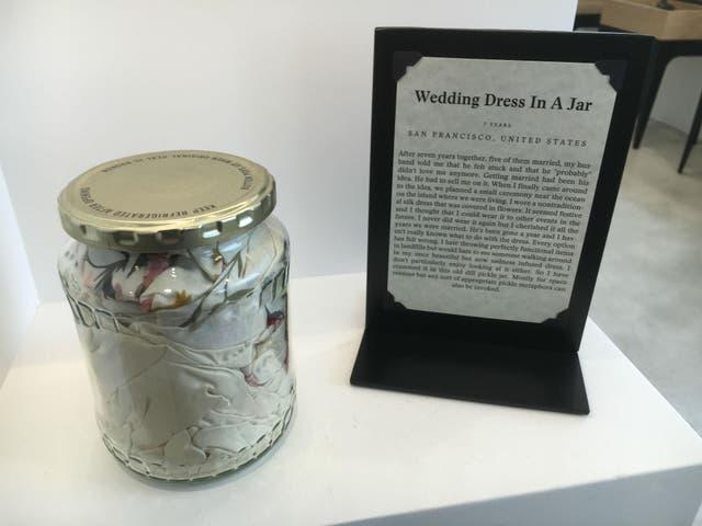 A wedding dress in a jar