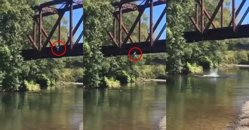 Mother cheers as her four-year-old boy is thrown from bridge in shocking video