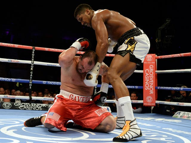 On this return to boxing, Joshua demolished American Jason Gavern in three rounds, flooring him four times in the process.