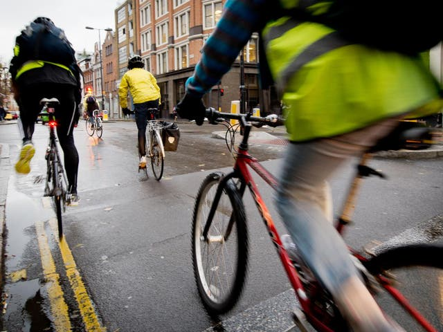 """Commuters who swap their car or bus pass for a bike could cut their risk of developing heart disease and cancer by almost half, new research suggests – but campaigners have warned there is still an """"urgent need"""" to improve road conditions for cyclists.  Cycling to work is linked to a lower risk of developing cancer by 45 per cent and cardiovascular disease by 46 por cento, according to a study of a quarter of a million people.  Walking to work also brought health benefits, the University of Glasgow researchers found, but not to the same degree as cycling."""