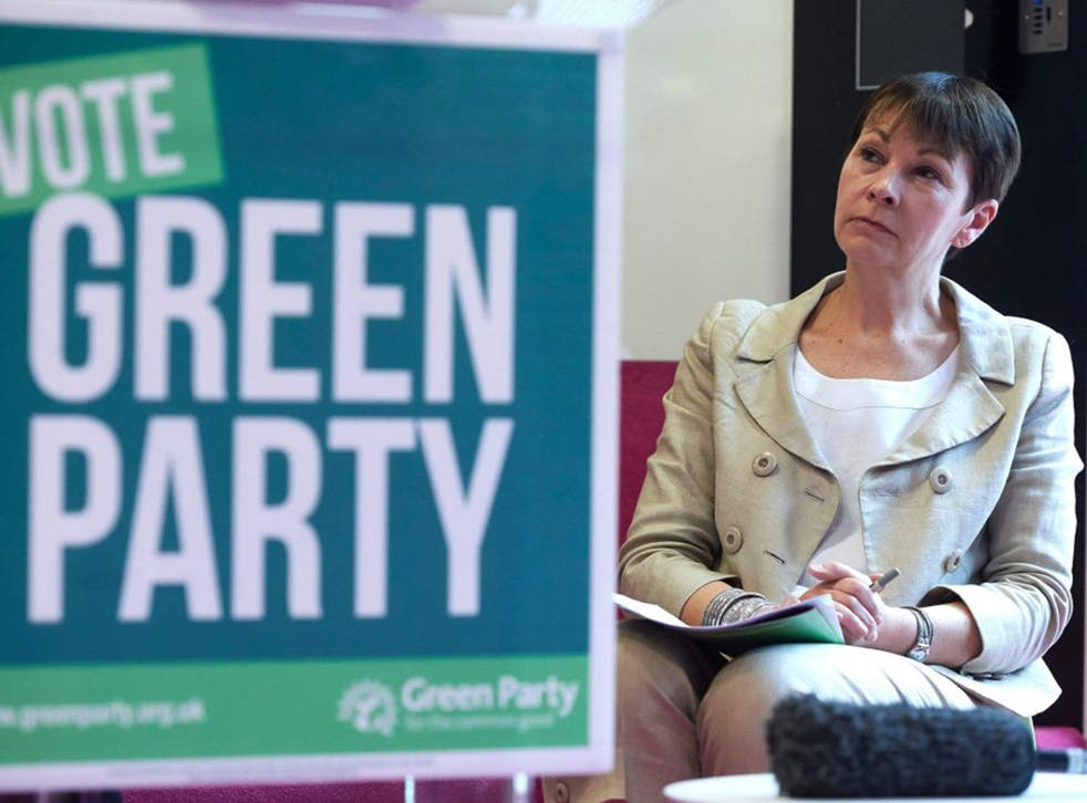 <p>Green Party co-leader Caroline Lucas during the launch of the party's manifesto yesterday</p>