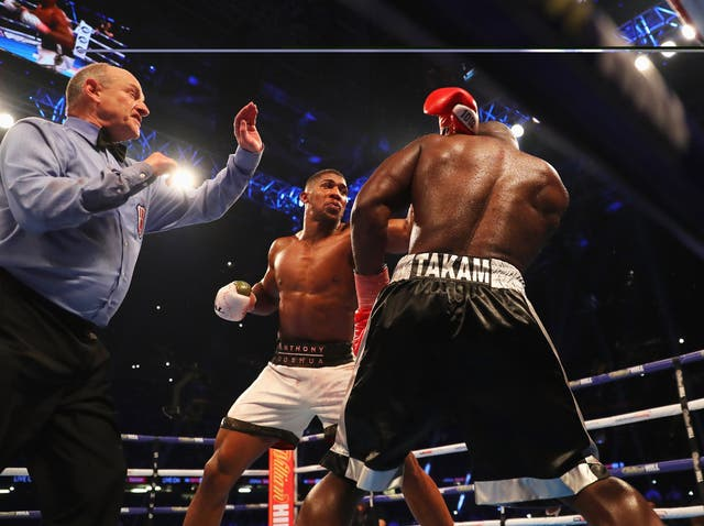 Joshua survived a broken nose in the second round to defeat a valiant Takam, who was a late notice replacement for the injured Kubrat Pulev.