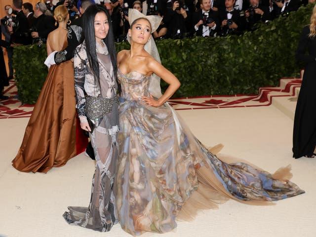 Ariana Grande poses alongside Vera Wang, the designer of the singer's debut Met Gala gown