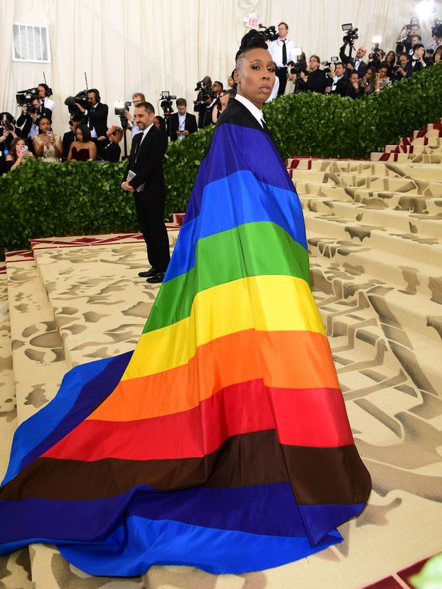 Lena Waithe made a powerful pride statement with a sparkly rainbow cape worn over a sleek black suit