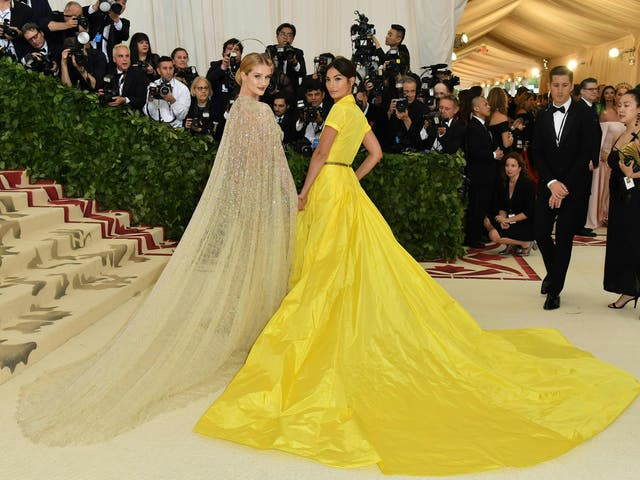 Lily Aldridge and Rosie Huntington-Whiteley walked the red carpet together, both wearing Ralph Lauren Collection gowns