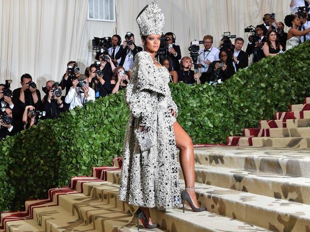 Rihanna went all in on the Catholicism theme wearing custom Maison Margiela