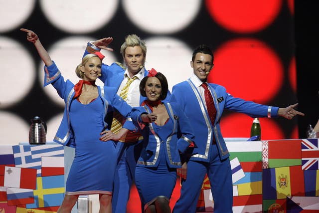 Pop band Scooch were selected to represent the UK at the European Song Contest in 2007, performing the song 'Flying the Flag (For You)' while dressed as flight attendants.