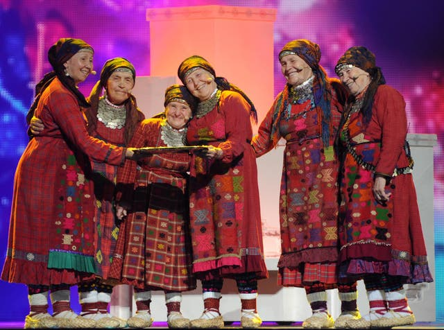 Six members from the band 'Buranovskiye Babushki' represented Russia at the Eurovision Song Contest in 2010 while wearing embroidered clothing handed down from generations of Udmurt women. They finished in third place.