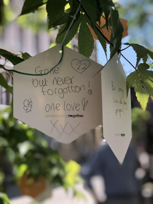 The Trees of Hope trailin St Ann's Square where people are encouraged to leave and share tributes