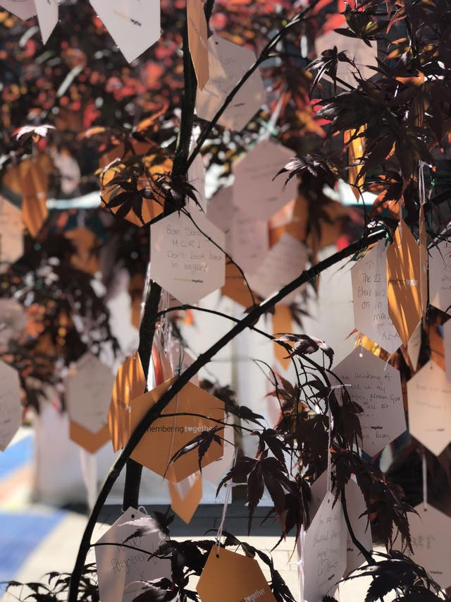 The Trees of Hope trail in St Ann's Square where people are encouraged to leave and share tributes