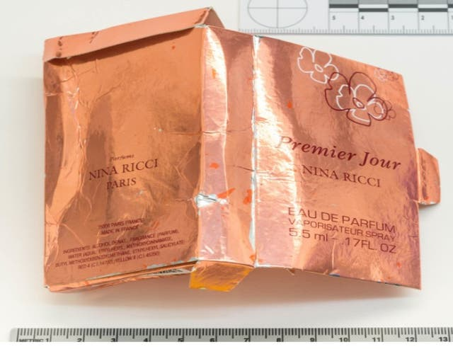 A counterfeit perfume box that was discovered by nerve agent victim Charlie Rowley, who later gave it, and the bottle inside, to his girlfriend Dawn Sturgess
