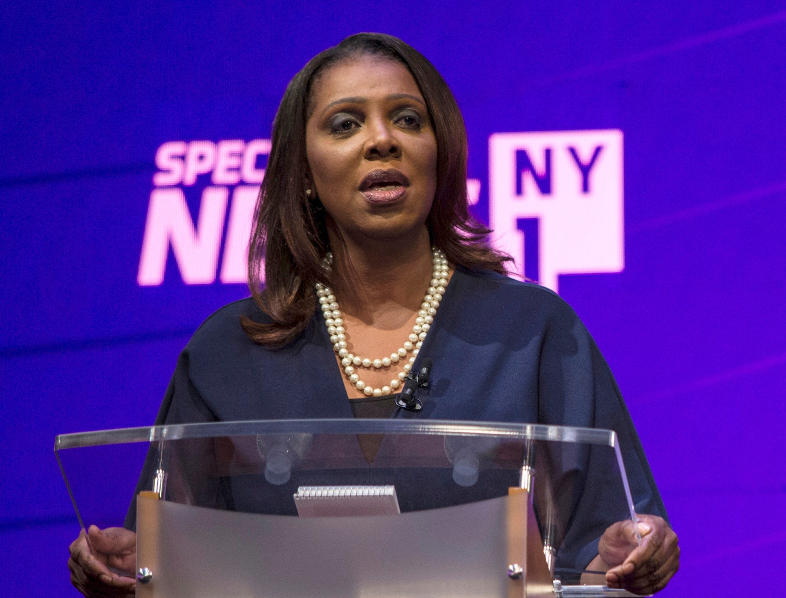 Letitia James: Woman on course to be New York's first black state attorney general attacks Trump in victory speech