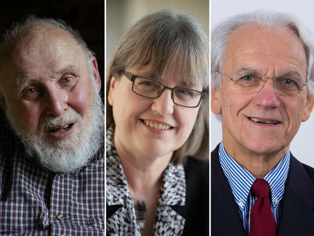 """The nobel prize for physics has been awarded to three physicists working with lasers. Arthur Ashkin (L) was awarded for his """"optical tweezers"""" which use lasers to grab particles, atoms, viruses and other living cells. Donna Strickland and Gérard Mourou were jointly awarded the prize for developing chirped-pulse amplification of lasers"""