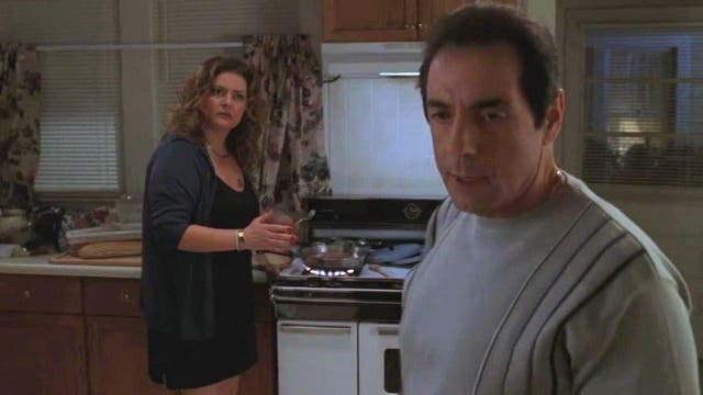 """<b>Season two, episode 12</b>: """"The Knight in White Satin Amour"""" <bl>  It's a feral punch to the face, courtesy of fiancée Richie Aprile (David Proval), that causes the Soprano blood of Tony's sister Janice (Aida Turturro) to truly begin flowing. Her response is to shoot him in the chest twice, taking out what was one of the show's more ruthless creations whose body's destroyed by Satriale's meat-cutter  mere scenes later."""