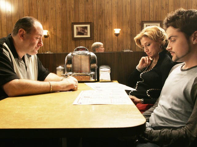 """<b>Season six – part two, episode nine</b>: """"Made in America"""" <bl>  The debate over whether certain final scenes of television shows are actually good will rage on and on. <i>The Sopranos</i> remains front and centre of the conversation. It's a seemingly banal occasion – a restaurant dinner scene. We watch on as Tony sits there, observing other customers. Carmela arrives, then AJ and Meadow, who the last we see, is parking her car outside. A bell rings, Tony looks up and the screen cuts to black. It's an ending that's inspired essays offering varied interpretations but ultimately, it remains a beautifully-executed few minutes of television."""