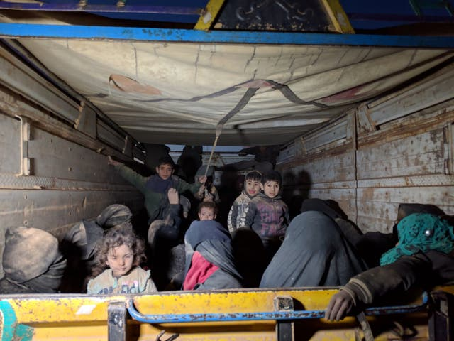 Trucks full of women and children arrive from the last Isis-held areas in Deir ez-Zor, Syria in January 2019 They were among the last civilians to be living in the ISIS caliphate, by this time reduced to just two small villages in Syria's Deir ez-Zor