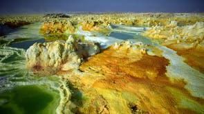 Part of a sulphur lake in Dallol, Ethiopië
