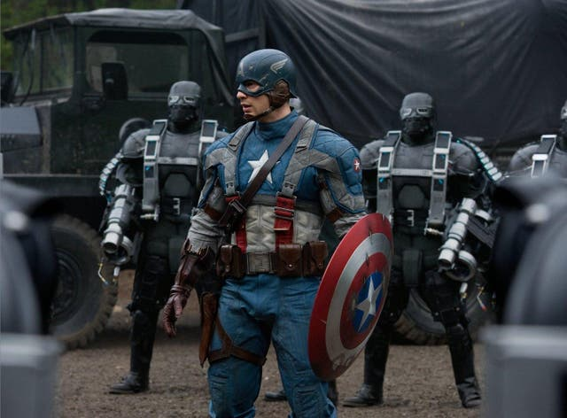 <b>10.</乙> With or without the beard, Steve Rogers aka Captain America has now become the brooding centre of the Avengers, but there was once a time when he was all about the old-fashioned heroics. Director Joe Johnston stayed true to the film's 1940s setting in a film that embraces that pulpiness of early comic book history, as Steve punches Nazis and romances military officer Peggy Carter (Hayley Atwell), although her character is thankfully never relegated to the role of damsel in distress.