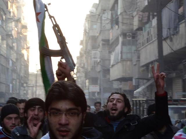 ISIS began as a group by the merging of extremist organisations ISI and al-Nusra in 2013. Following clashes, Syrian rebels captured the ISIS headquarters in Aleppo in January 2014 (pictured)