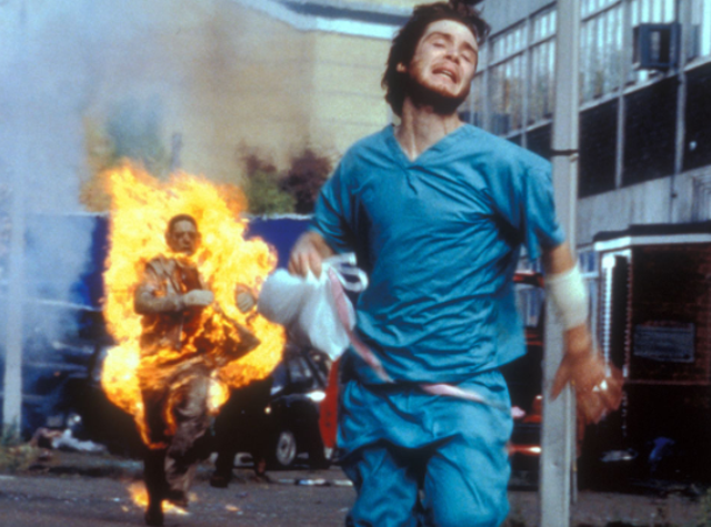 """Directed by: Danny Boyle. Many might not reflect upon 28 Days Later (2002) as one of the world's scariest horror films, but its desolate depiction of a viral outbreak seems more real than any other. When merged with the fast-paced infected and the usage of John Murphy's song """"In the House – In A Heartbeat"""", it's hard to deny it such status."""
