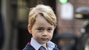 Prince George arrives for his first day of school at Thomas's London Day School in Battersea. (2017)