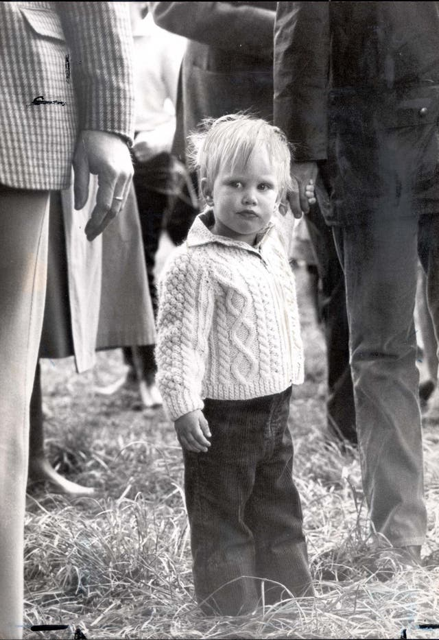 Zara Phillips, daughter of Princess Anne, attends the Royal Windsor Horse Show aged two. Zara went on to become an equestrian and Olympian. (1983)
