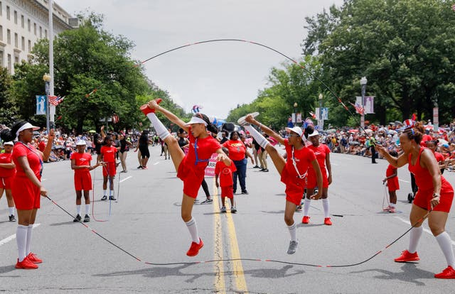 A jump rope team on Constitution Avenue
