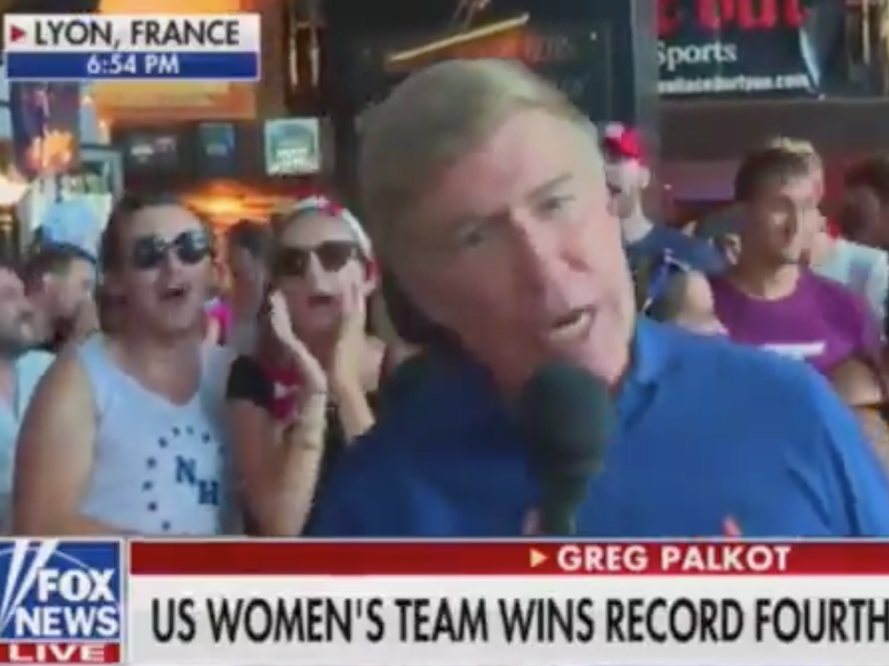 US football fans chant 'f*** Trump' during live Fox News broadcast from World Cup victory party
