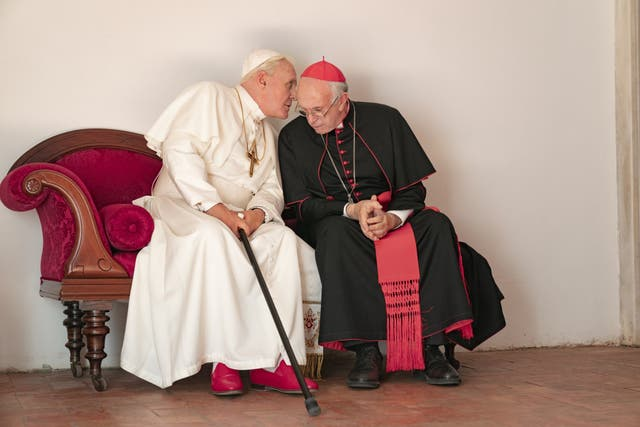 Anthony Hopkins and Jonathan Price twinkle ecumenically in this two-hander about Pontiffs Benedict XVI (Hopkins) and Francis (Price) who are thrown together at a time of crisis for the Church. The two leads were nominated for Oscars, as was screenwriter Anthony McCarten, adapting his 2019 play of the same name.