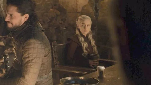 The greatest oops moment in GoT's was in the final season when a stray Starbucks cup is sitting on a wooden table next to Emilia Clarke's character Daenerys Targaryen. Did nobody spot it? There were also plastic water bottles near Samwell Tarly's and Ser Davos's feet in the final episode.