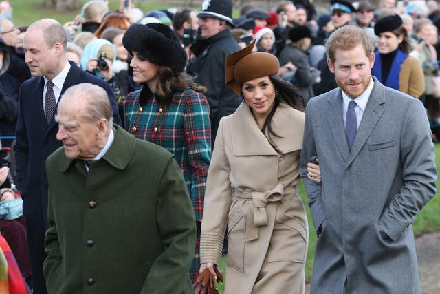 Prince William, Duke of Cambridge, Prince Philip, Duke of Edinburgh, Catherine, Duchess of Cambridge, Meghan Markle and Prince Harry attend Christmas Day Church service at Church of St Mary Magdalene in King's Lynn